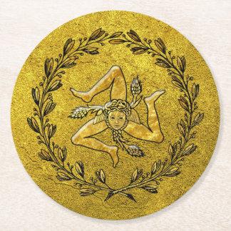 Sizilianisches Trinacria olivgrünes Kranz-Gold Runder Pappuntersetzer