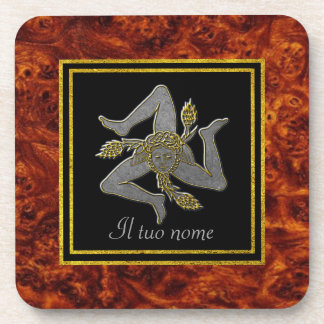 Sizilianisches Trinacria Silber u. Gold Ihr Name Untersetzer