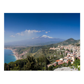 Sizilien - Taormina vor der Ätna-Postkarte Postkarten