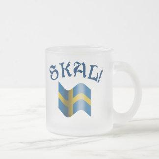 Skal! Schwedischer trinkender Toast Schwedens Mattglastasse