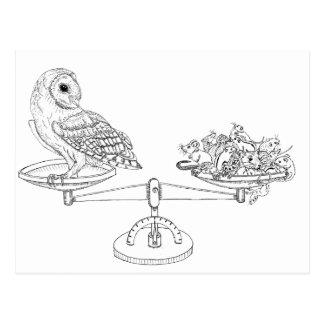 Skala mit Schleiereule und Mäusen Postkarte