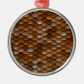 Skala-Muster Rundes Silberfarbenes Ornament