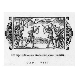 Skandinavier, die ihre Pfeile verwenden Postkarte