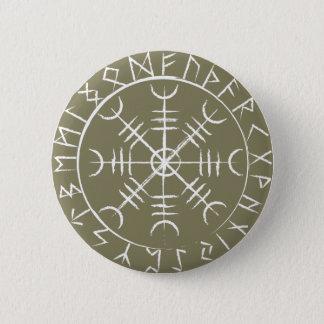 Skandinavier-Helm der Ehrfurcht mit Runen Runder Button 5,1 Cm