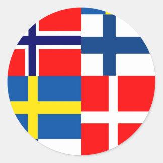 Skandinavier kennzeichnet Quartett Runde Aufkleber