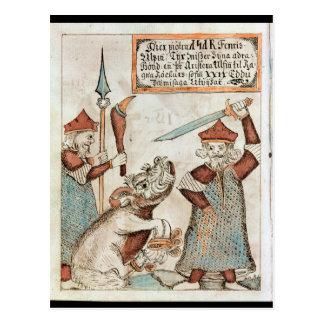 Skandinaviergott Tyr, der seine Hand zum Postkarte