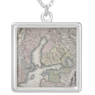 Skandinavische antike Karte Versilberte Kette