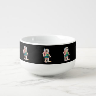 Skandinavische lustige schauende große suppentasse