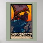 Skandinavische Vintage Reise-Anzeige mit Poster