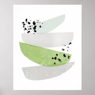 skandinavischer, abstrakter Grünplakatdruck Poster