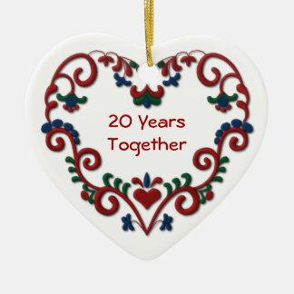 Skandinavisches Herz 20 Jahre zusammen Keramik Ornament