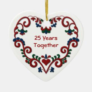 Skandinavisches Herz 25 Jahre zusammen Ornamente