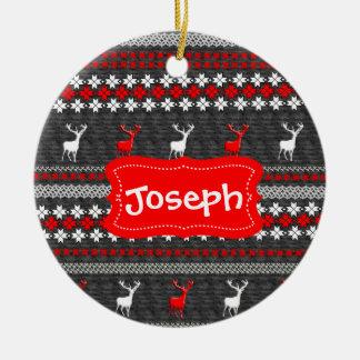 Skandinavisches Rotwild-Weihnachtsmuster Keramik Ornament