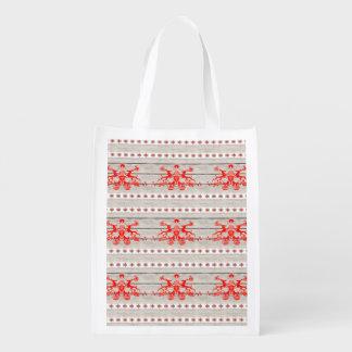 skandinavisches Weihnachtsschneeflocken Nordic-Ren Wiederverwendbare Einkaufstasche