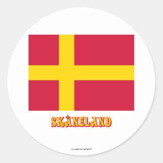 Skåneland Flagge mit Namen Runder Aufkleber
