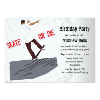 Skate oder die Skateboard-Geburtstags-Party 12,7 X 17,8 Cm Einladungskarte