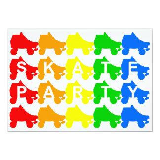 Skate-Party: Regenbogenviererkabel 12,7 X 17,8 Cm Einladungskarte