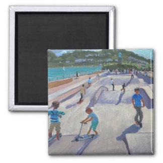 Skateboaders Teignmouth 2012 Quadratischer Magnet