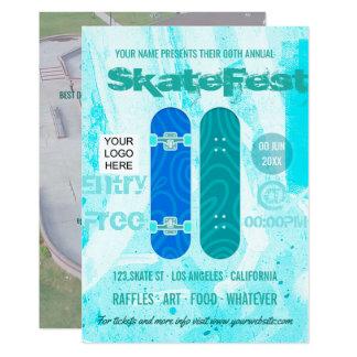 Skateboard-Ereignis-Anzeige addieren Foto und Logo Karte