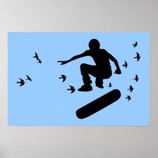 Skateboard mit Vögeln Poster