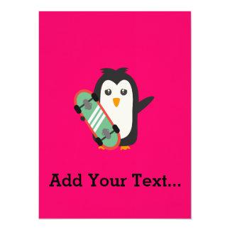 Skateboard-Pinguin 14 X 19,5 Cm Einladungskarte