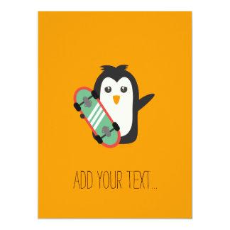 Skateboard-Pinguin 16,5 X 22,2 Cm Einladungskarte