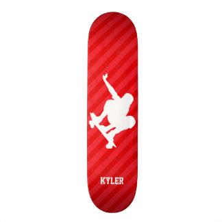 Skateboardfahrer; Scharlachrot Rot-Streifen- Personalisiertes Skateboarddeck