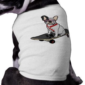 Skateboarding französische Bulldoggen-Hundet-stück T-Shirt