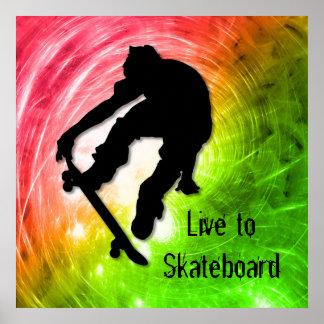 Skateboarding in einem psychedelischen Wirbelsturm Poster