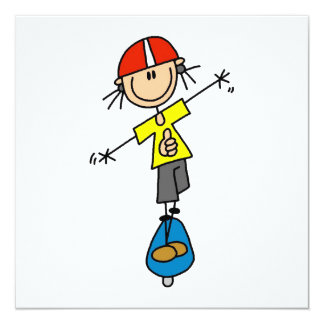 Skateboarding Strichmännchen Einladungskarten