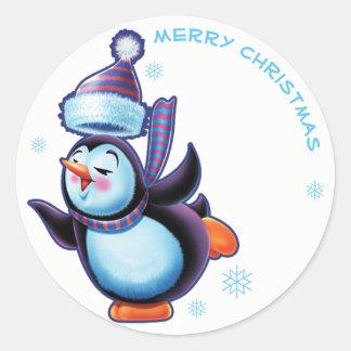 Skaten Penguin Weihnachtsaufkleber Runder Aufkleber