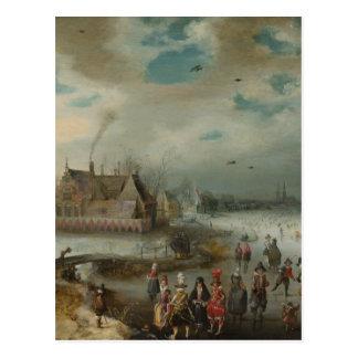 Skaten während des Winters Holland Postkarte