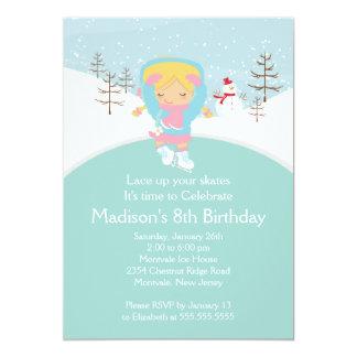 Skater-Mädchen-Eis-Skaten-Geburtstags-Party Karte