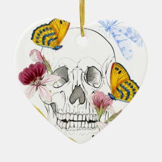 Skeleton Blumen Keramik Herz-Ornament