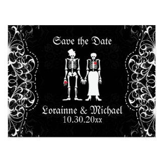 Skeleton Braut-u. Bräutigam-Save the Date Postkarte