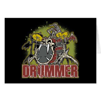 Skeleton Felsen-Schlagzeuger Grußkarte