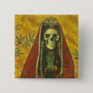 Skeleton Hexe-Entwurf Quadratischer Button 5,1 Cm