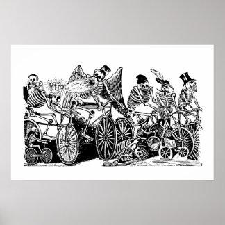 Skeleton Radfahrer durch José Guadalupe Posada Plakatdrucke