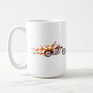 Skeleton Radfahrer u. Flammen: Kaffeetasse