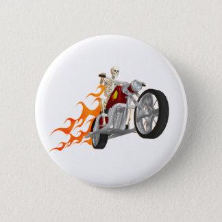 Skeleton Radfahrer u. Flammen: Runder Button 5,7 Cm