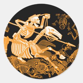 Skeleton Reiter-Aufkleber Halloweens Runder Aufkleber