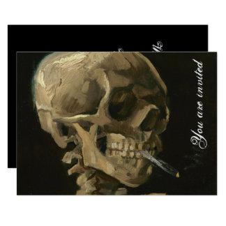 Skeleton Schädel mit brennender Zigarette durch Karte