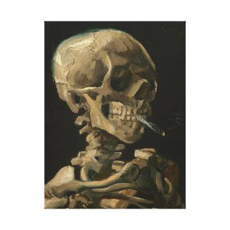 Skeleton Schädel mit brennender Zigarette durch Leinwanddruck