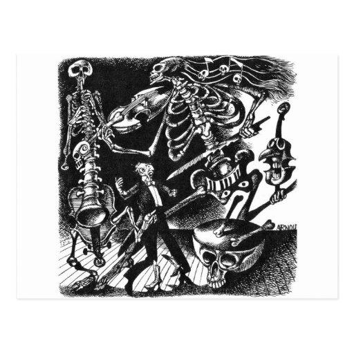 Skeleton Stau-Bandpostkarte Postkarte