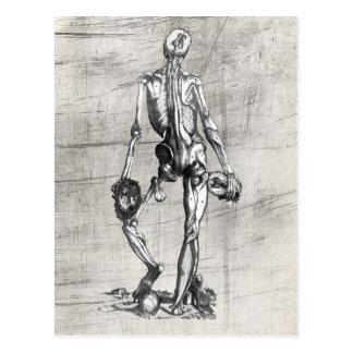 Skeleton stehendes auf Schädel Postkarte