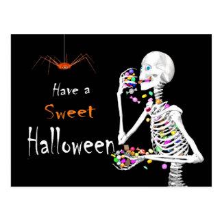 Skeleton Süßigkeit Essenshalloween Postkarten