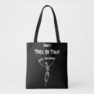 Skeleton Trick oder Leckerei Halloweens Tasche