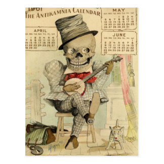 SKELETON Typ, Goth, Banjo Player, Kalender 1901 Postkarte