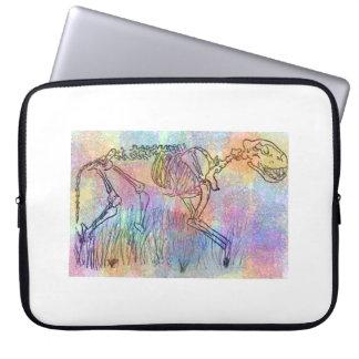Skeleton Wasserfarbe-Spritzer der großen Katze Laptop Sleeve
