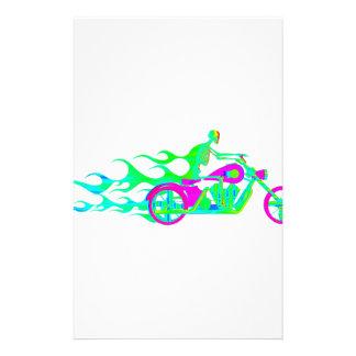Skelett auf einem Motorrad Briefpapier